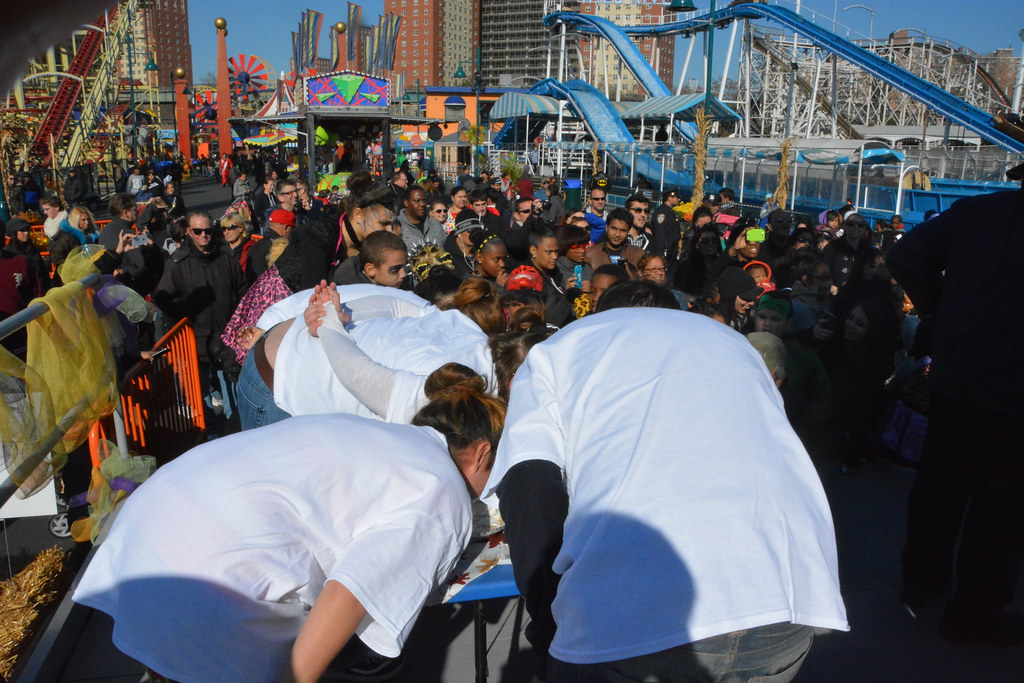 the pie eating contest at luna parks halloween harvest by luna park coney island