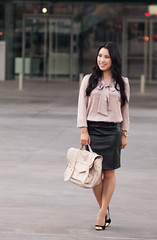 cute & little blog | pink bow top, leather pencil skirt, f… | Flickr