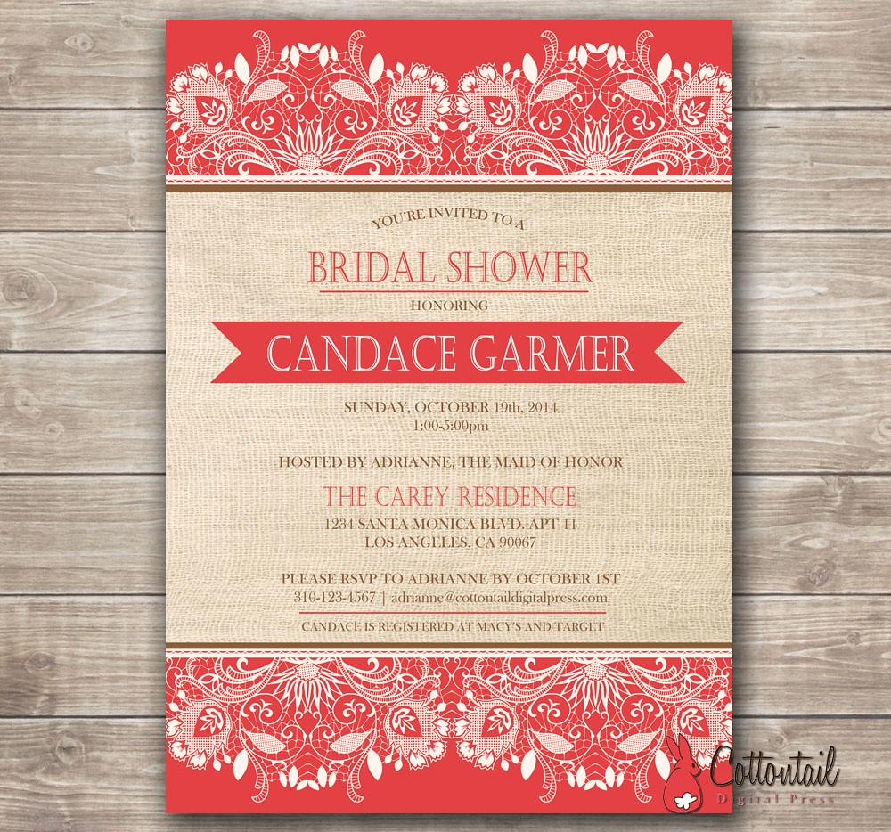 Burlap and Lace Bridal Shower Invitation | Rustic Chic Brida… | Flickr