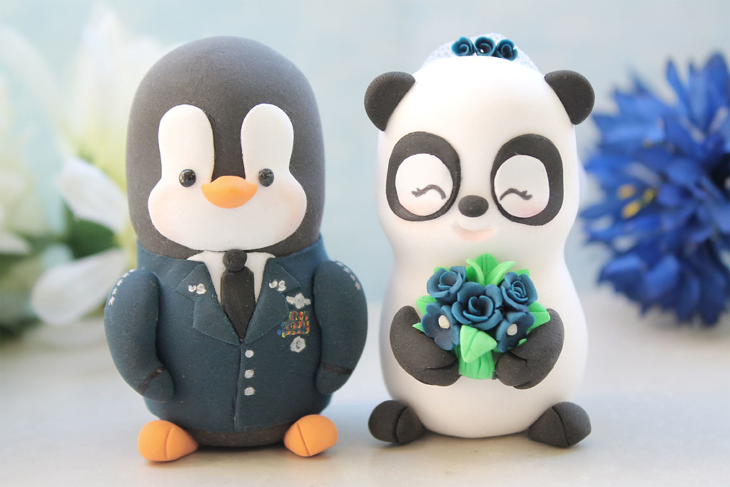 US Air Force Military Penguin And Panda Wedding Cake Toppe