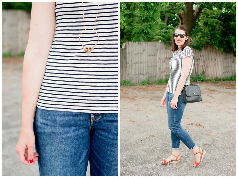 white navy stripe J Crew Factory tee + boyfriend jeans Target + red orange wedge sandals | Style On Target