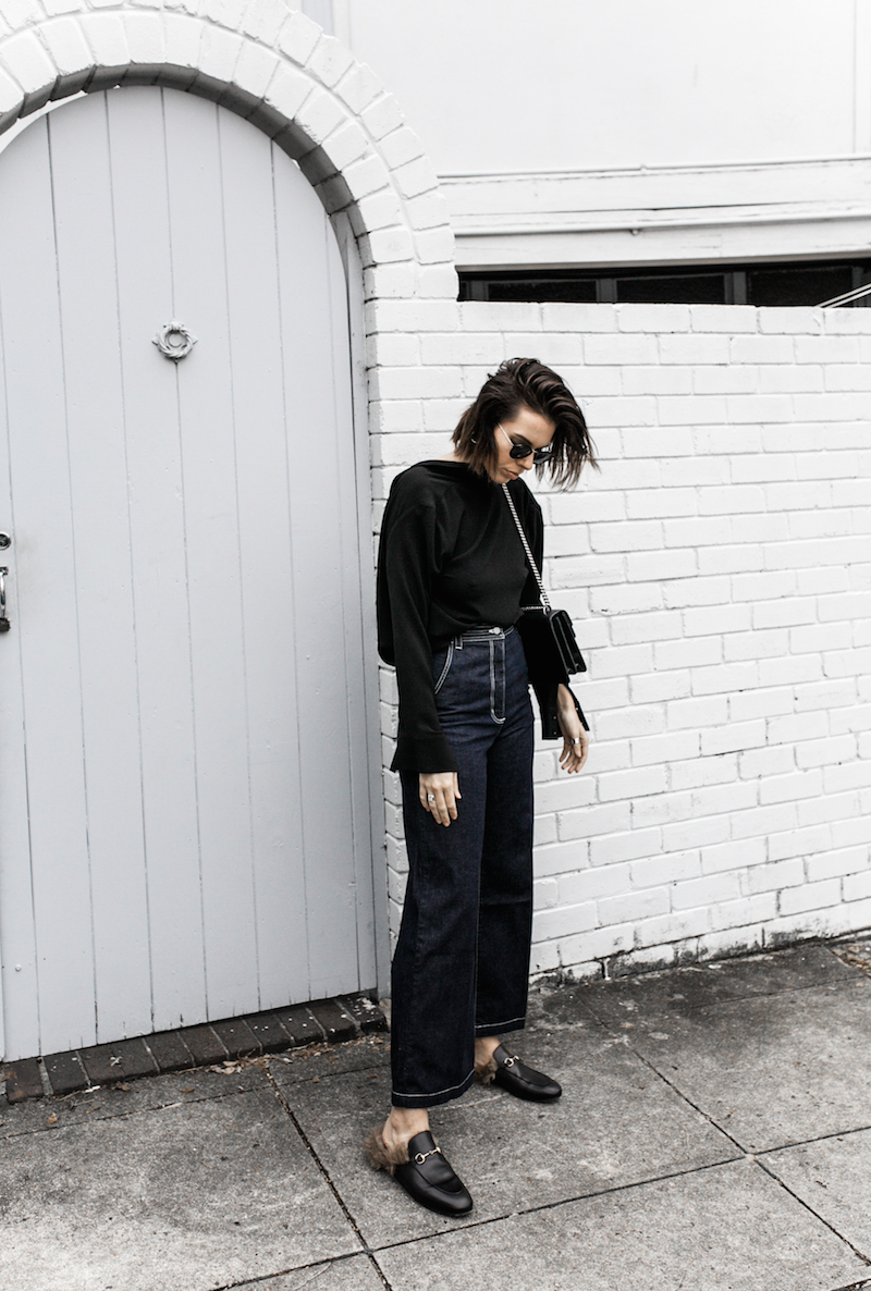 gucci dionysus black chain bag rachel comey wide leg jeans street style inspo minimal fashion blogger fur horsebit loafer Instagram (13 of 14)