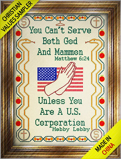 Christian Values Sampler - On Sale Now at Hobby Lobby (Made in China) | by DonkeyHotey