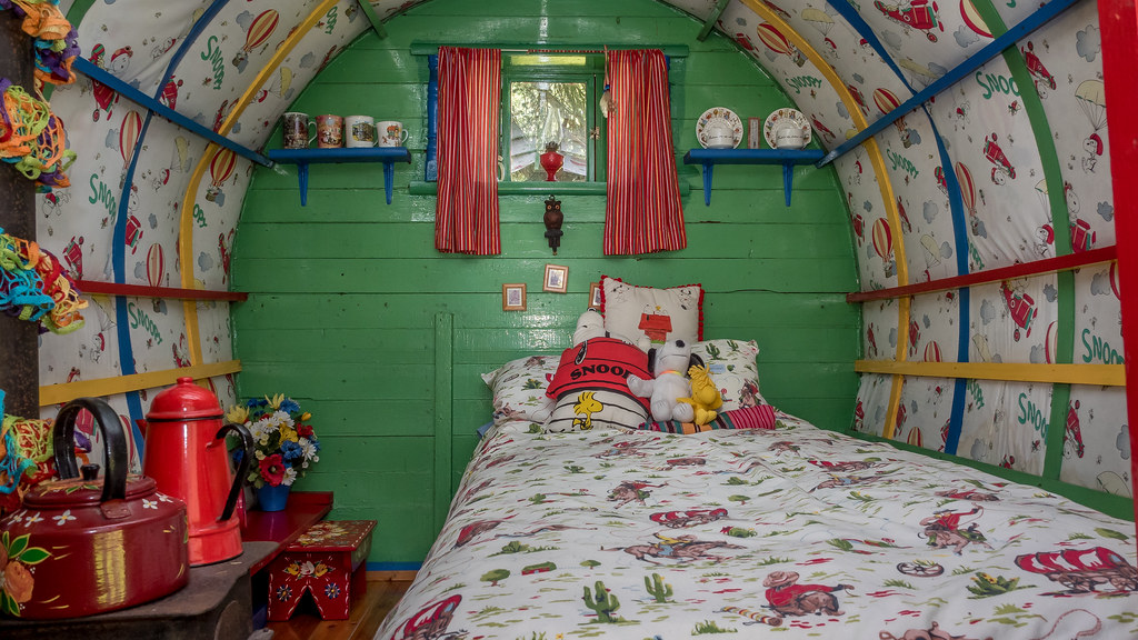 ... The Interior Of A Horse Drawn Bowtop Gypsy Caravan Made Into A Snoopy  Themed