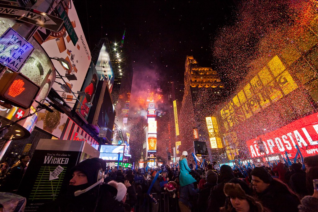 Partiers celebrate New Year's in Times Square