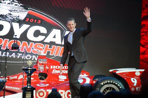 Charlie Kimball is introduced to the crowd during the opening of the 2013 INDYCAR Championship Celebration | by IndyCar Series
