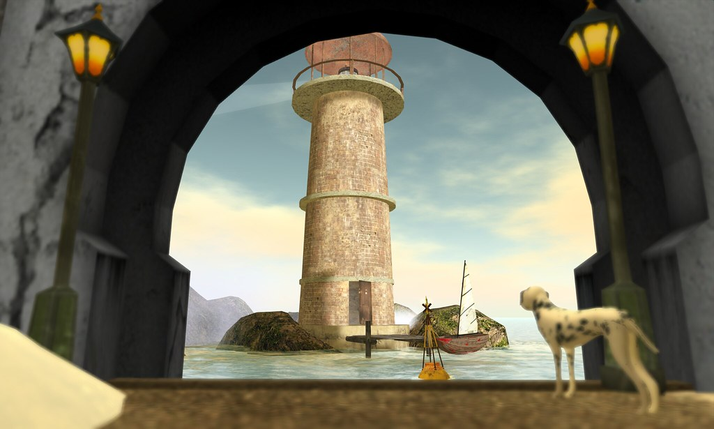 dalmation dog looking at lighthouse i like this framing ef…   Flickr