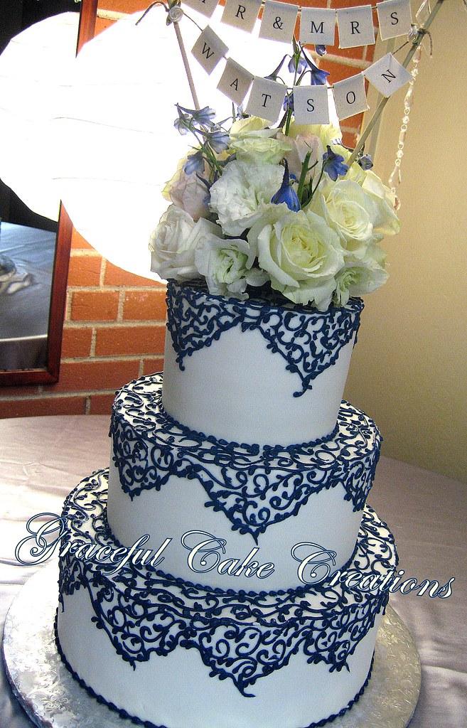 Elegant Ivory Wedding Cake with Navy Blue Lace | Grace Tari | Flickr