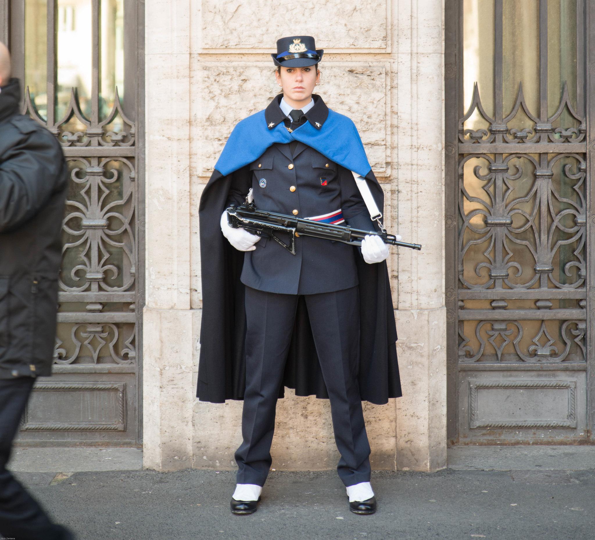 Italian Senate guard in a cloak