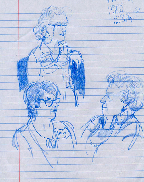 Workshop sketches, blue pencil and lined paper