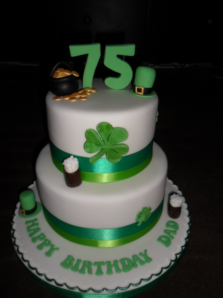 Irish 75th 2 Tier Clover Guiness Happy Birthday Cake Flickr