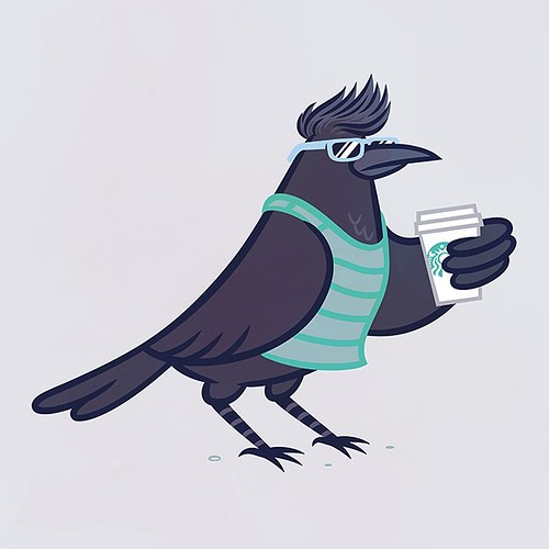 Chill SoCal crow drinking a venti hot triple five-pump vanilla non-fat no foam whipped cream extra hot extra carmel upside down carmel machiatto. | by pilihp