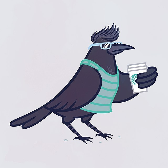 Chill SoCal crow drinking a venti hot triple five-pump vanilla non-fat no foam whipped cream extra hot extra carmel upside down carmel machiatto.