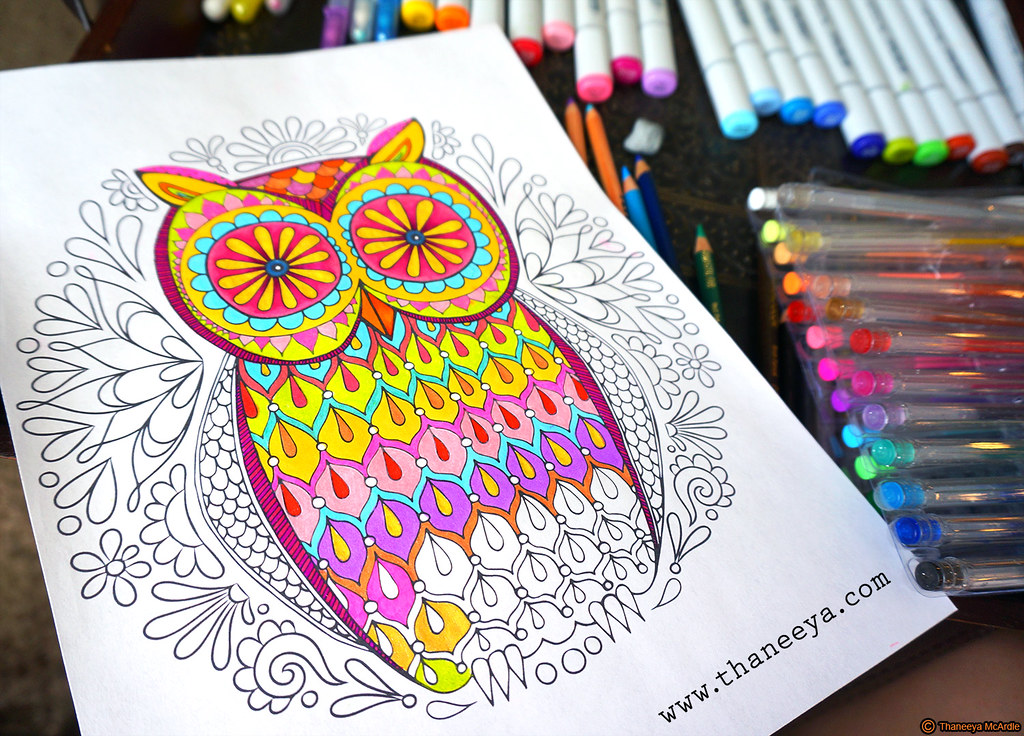 owl coloring page by thaneeya mcardle by thaneeya