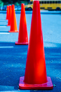 Traffic cones in empty parking space | by DigiDreamGrafix.com