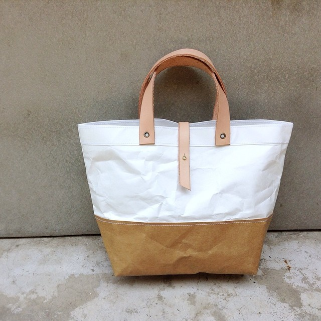 two tone kraft and tyvek paper lunch bag snap handles leat flickr