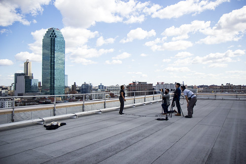 me, preparing to have my photo taken at an open technology event, on a rooftop in Queens in 2013