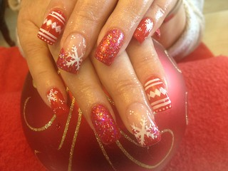 Acrylic nails with red glitter and Xmas nail art | by Eye Candy Nails Nic Senior