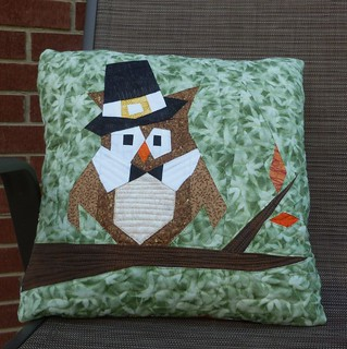 Pilgrim Owl pillow | by quilts by lisa