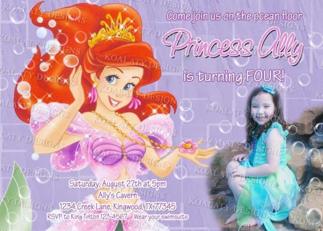 Custom Princess Ariel Birthday Invitations