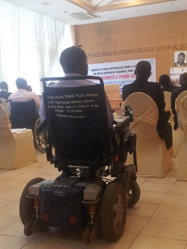 A student living with disability, member of the Gabon students association, participates in a workshop for the youth | by The World We Want 2015