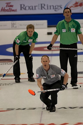 Brad Jacobs calls line while Tyrel Griffith & Rick Sawatsky look on | by seasonofchampions