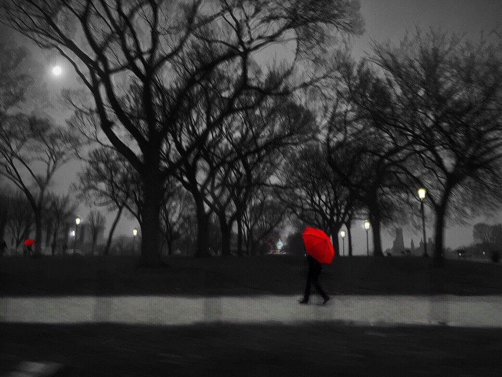 The red umbrella alone on the mall 1 by aeleazer1