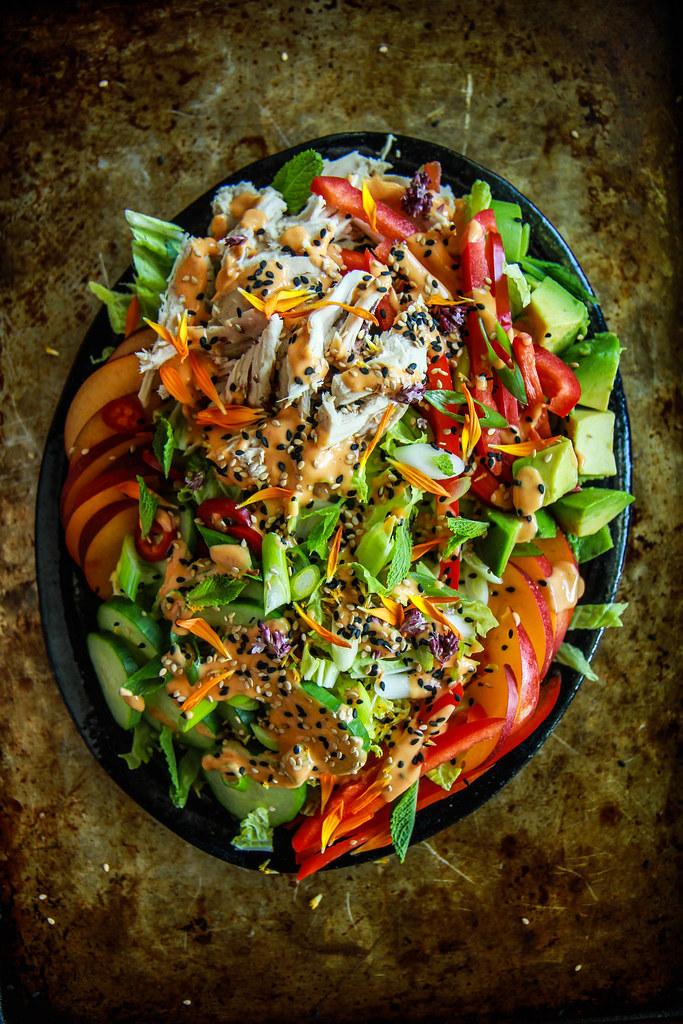 Nectarine Sesame Chicken Salad from HeatherChristo.com