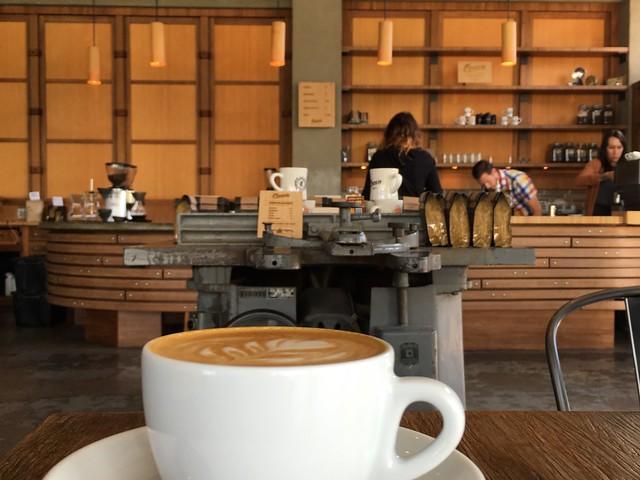 Coava coffee cup and bamboo counter - home of award-winning barista in Portland, Oregon