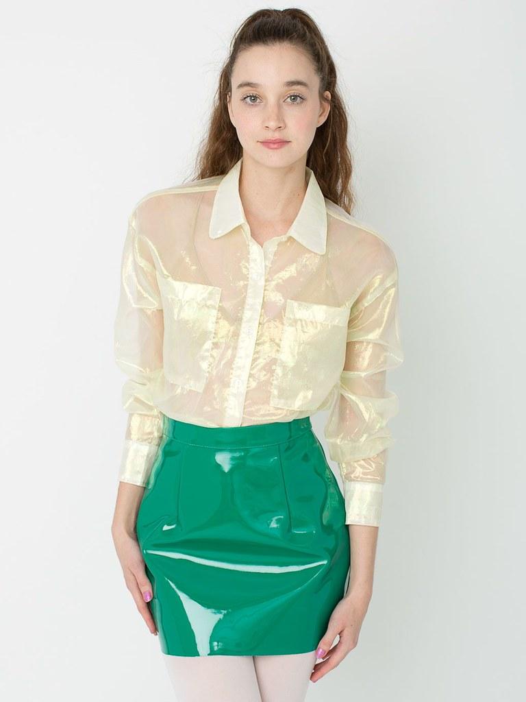 Sheer Button Up Blouse Anlis