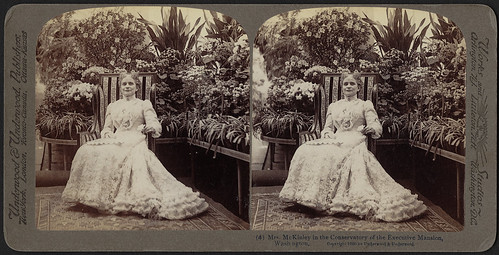 Mrs. McKinley in the conservatory of the Executive Mansion, Washington, D.C. | by Boston Public Library