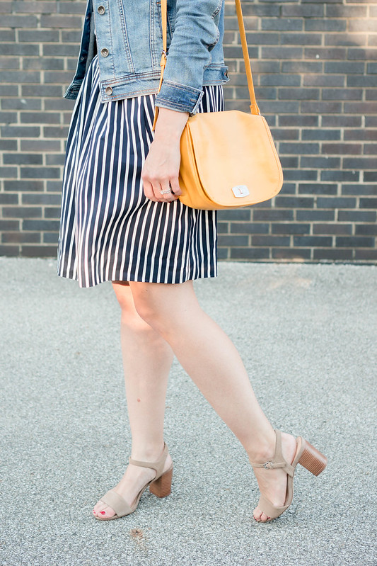 navy and white stripe skirt + white tee + denim jacket + yellow purse + Sole Society block heels, summer outfit | Style On Target