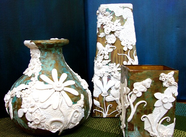 Three Vases Polymer Metal Paint Patina On Upcycled Glass Flickr