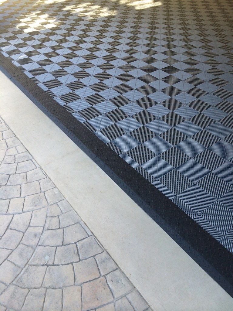 ... Garage Tile Flooring U0026 Black Diamond Plate Transition Strip | By  DiamondBack Truck Covers