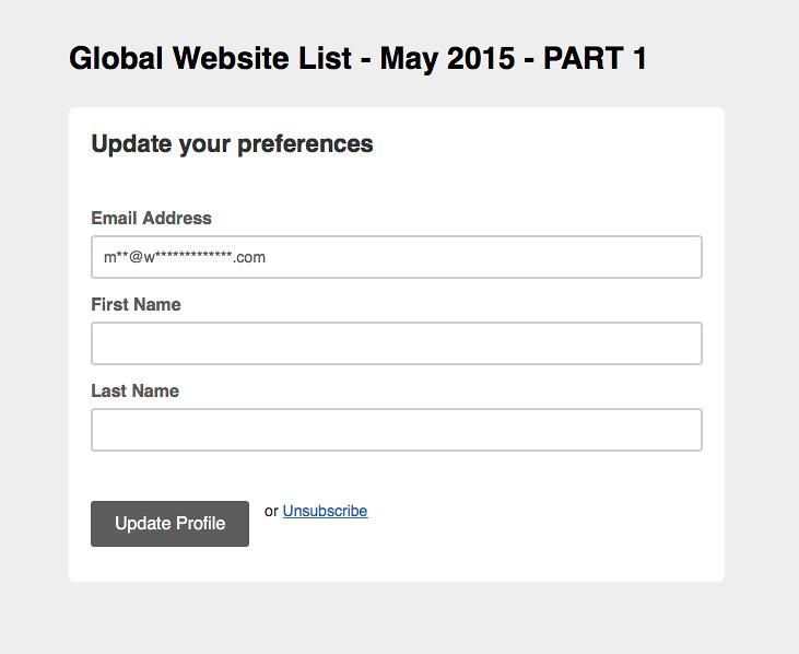 MailChimp mailing list title reveal