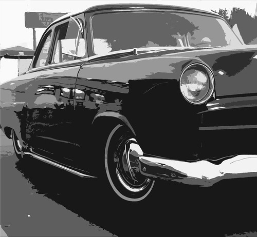 Black N White 50's Ford. Small Car Show At A&W Root Beer N