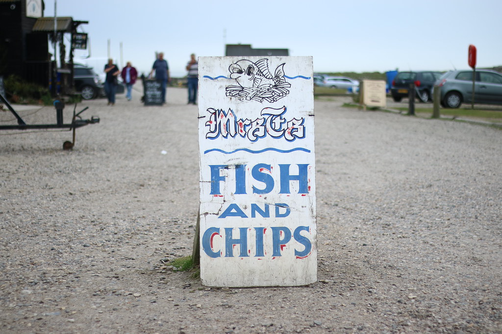 Fish and chips sign in Southwold