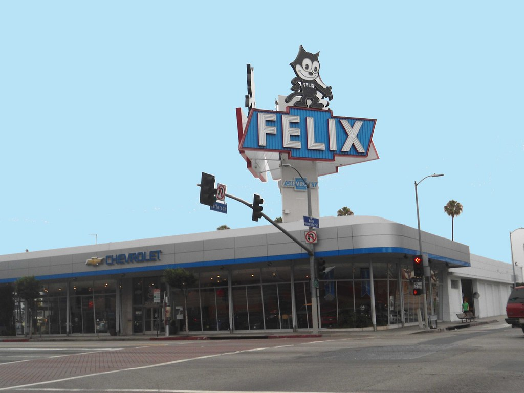 ... Felix Chevrolet Erected This Sign In 1957 @ 3330 S Figueroa St,  Downtown Los Angeles