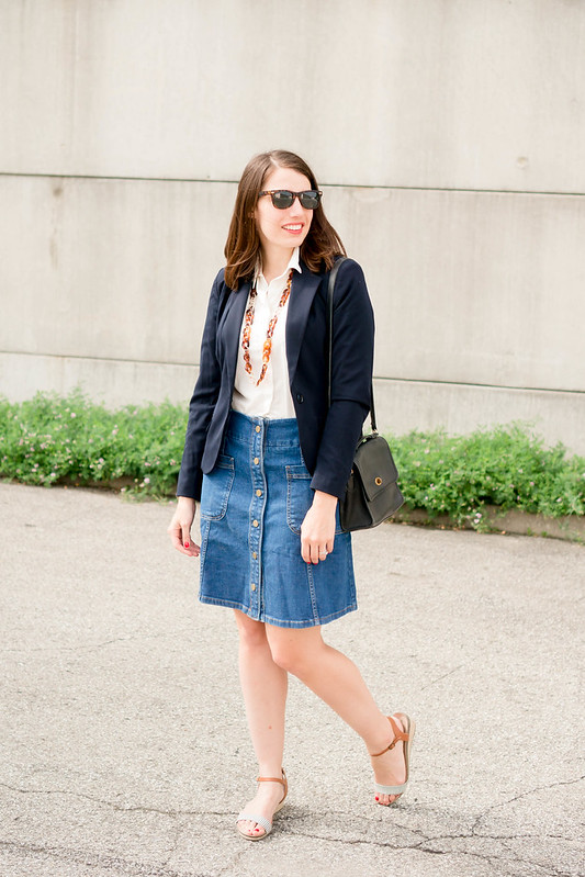 Boden denim skirt + navy blazer + stripe sandals | Style On Target