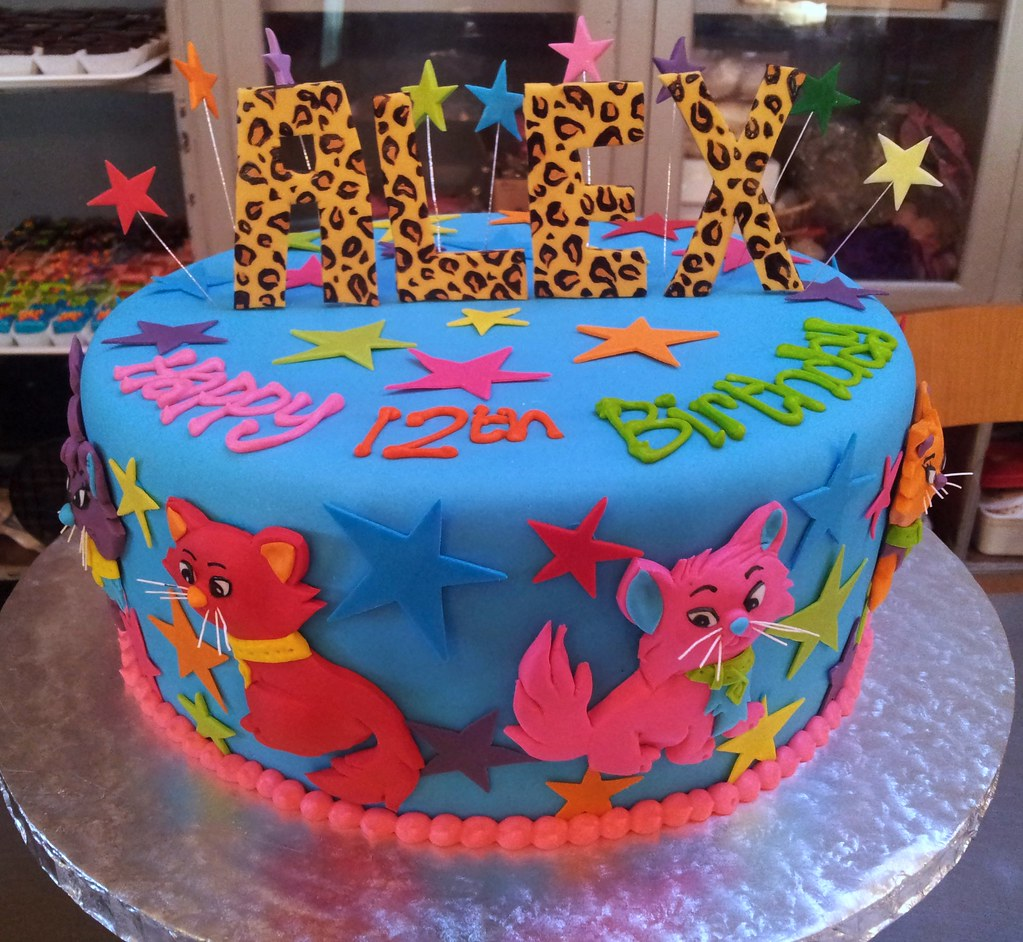 Birthday cake iced in blue fondant with leopard print 3d Flickr