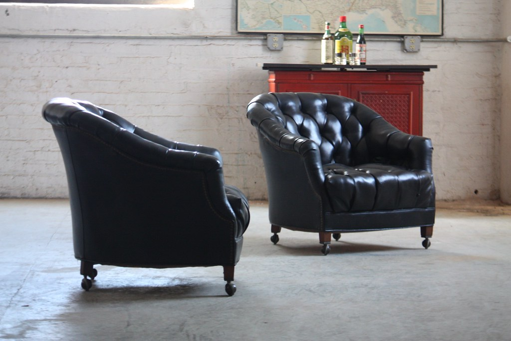 Exceptional ... Silky Smooth Vintage Tufted Black Leather Club Chairs (U.S.A., 1970s) |  By Kennyk