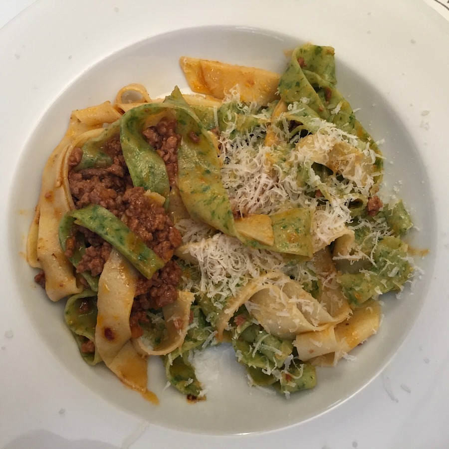 White and Green Pasta with Ragu