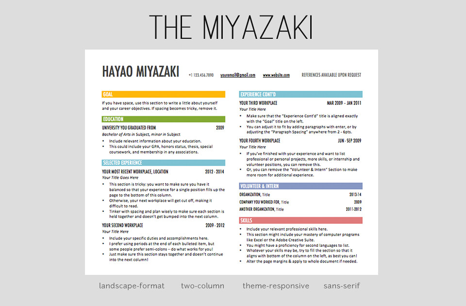 the miyazaki resume template by amydoz - Two Column Resume