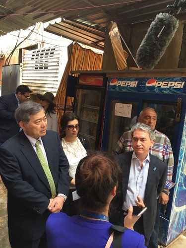 In Beirut, Mr. Seiichi Otsuka, Ambassador of Japan in Lebanon, visited the project to assist refugees of Palestine. (Left) in 2016 | by UNDP Representation Office in Tokyo