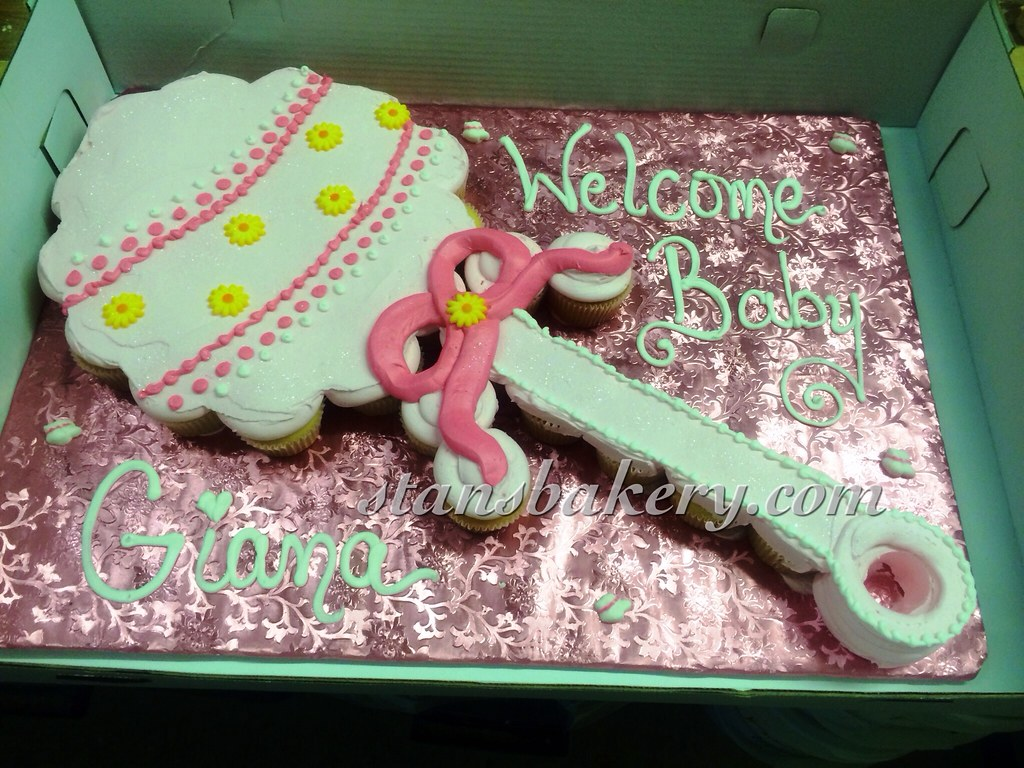 Baby Rattle Cupcake Cake Baby Shower Rattle Cake Made Out Flickr