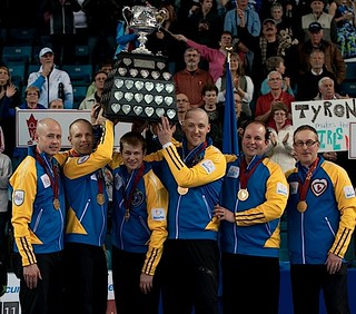 Kamloops B.C.Mar9_2014.Tim Hortons Brier.Alberta skip Kevin Koe,third Pat Simmons,second Carter Rycroft,lead Nolan Thiessen.Jamie King.Coach John Dunn.CCA/michael burns photo | by seasonofchampions