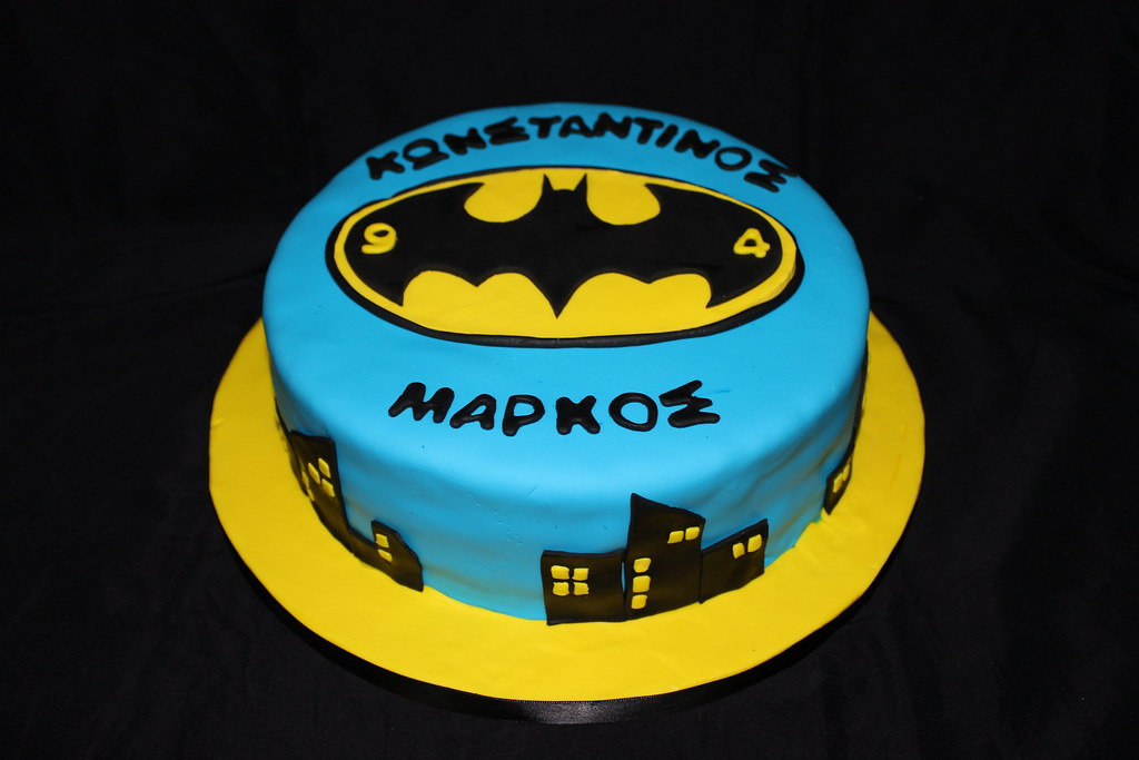 Groovy Batman Themed Birthday Cake Glykodimiourgies By Maria Flickr Funny Birthday Cards Online Sheoxdamsfinfo