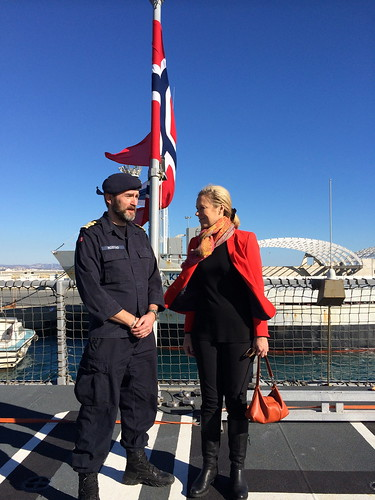 During a visit to the Norwegian frigate, the KNM Helge Ingstad, the Special Coordinator of the OPCW-UN Joint Mission, Ms. Sigrid Kaag met with Commander s.g. Per Rostad. | by for the elimination of Syrian chemical weapons