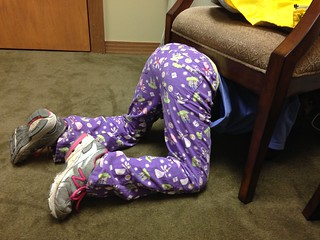 Girl Hiding under Chair From Doctor's Office | by stevendepolo