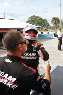 Juan Pablo Montoya straps his helmet on prior to his test session with Team Penske at Sebring | by IndyCar Series